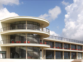 The De La Warre Pavillion at Bexhill-on-Ocean designed by Erich Menalsohn in 1938.