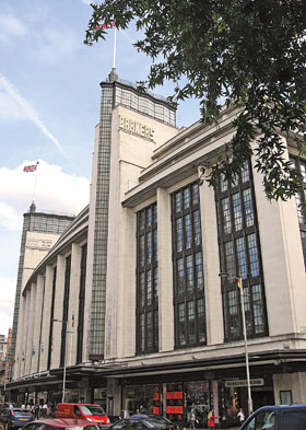 Many Moderne department stores were built during the 1930s throughout London. Shown above is Barkers of Kensington.