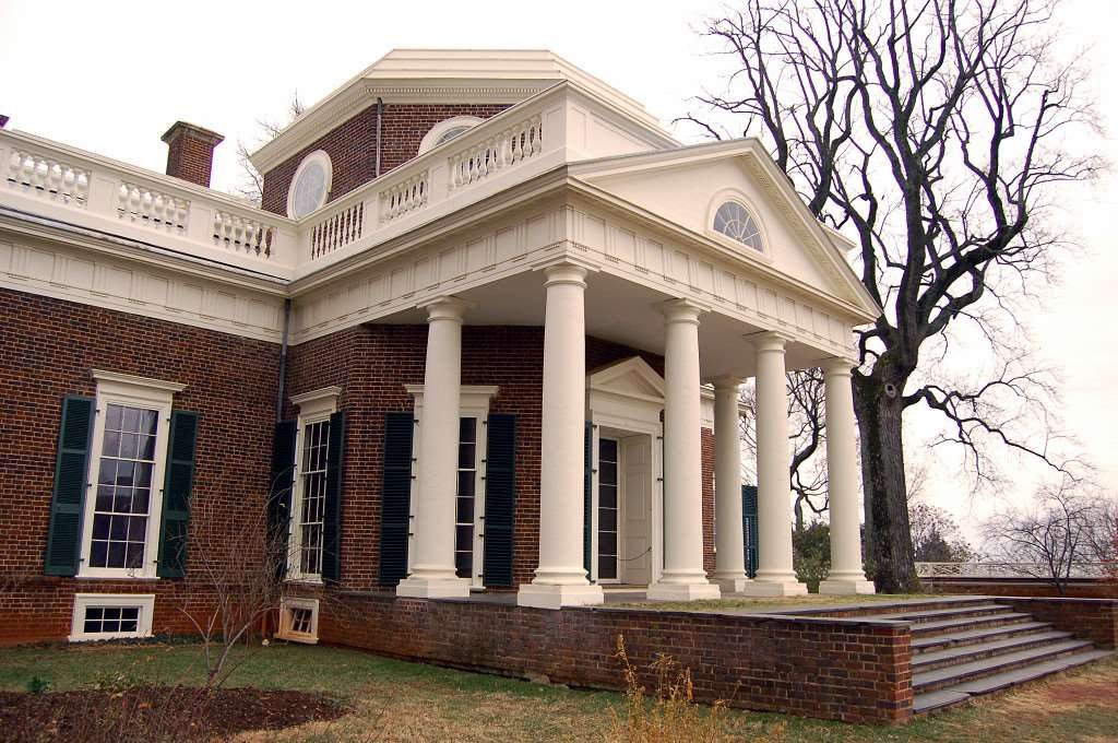 The portico on Thomas Jefferson's Monticello